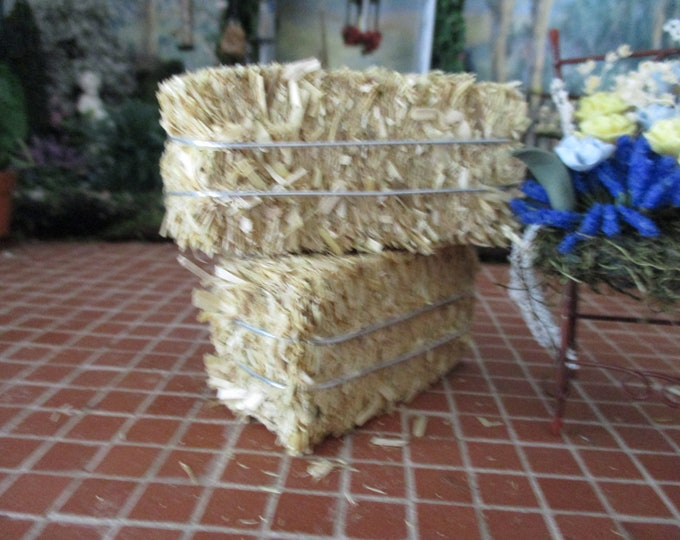 Miniature Hay Bale, Wire Wrapped Mini Hay, Dollhouse Miniature, 1:12 Scale, Dollhouse Accessory, Decor, Crafts