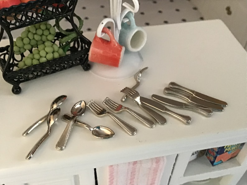 Alimento En Miniatura 1:12 cuchara de azúcar de plata escala ~ ~