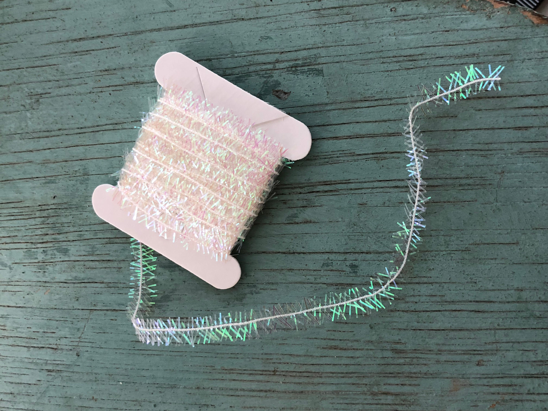 Miniature tinsel garland pearl white yards dollhouse