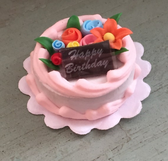 Miniature Birthday Cake With Flowers Mini Frosted Cake Etsy