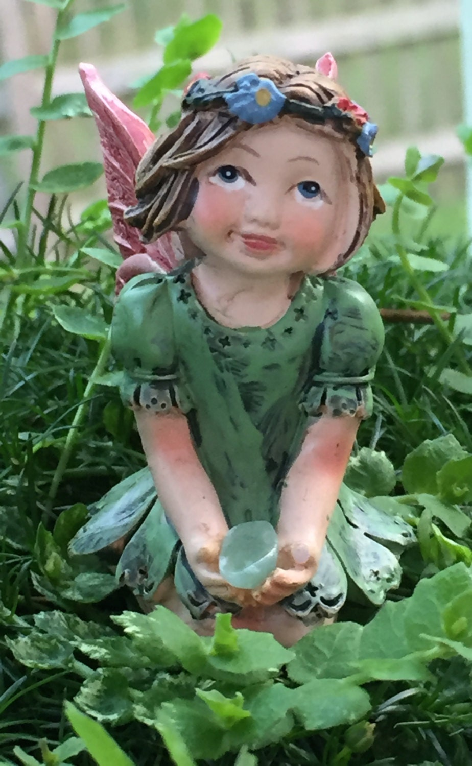 Sale sweet flower crown fairy figurine kneeling fairy green dress sale sweet flower crown fairy figurine kneeling fairy green dress holding gem fairy garden accessory miniature garden decor topper izmirmasajfo