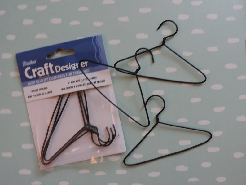 Packaged Set of 3 Great for Doll Clothes and Crafts Black Wire Hangers 3 Inch Mini Wire Hangers