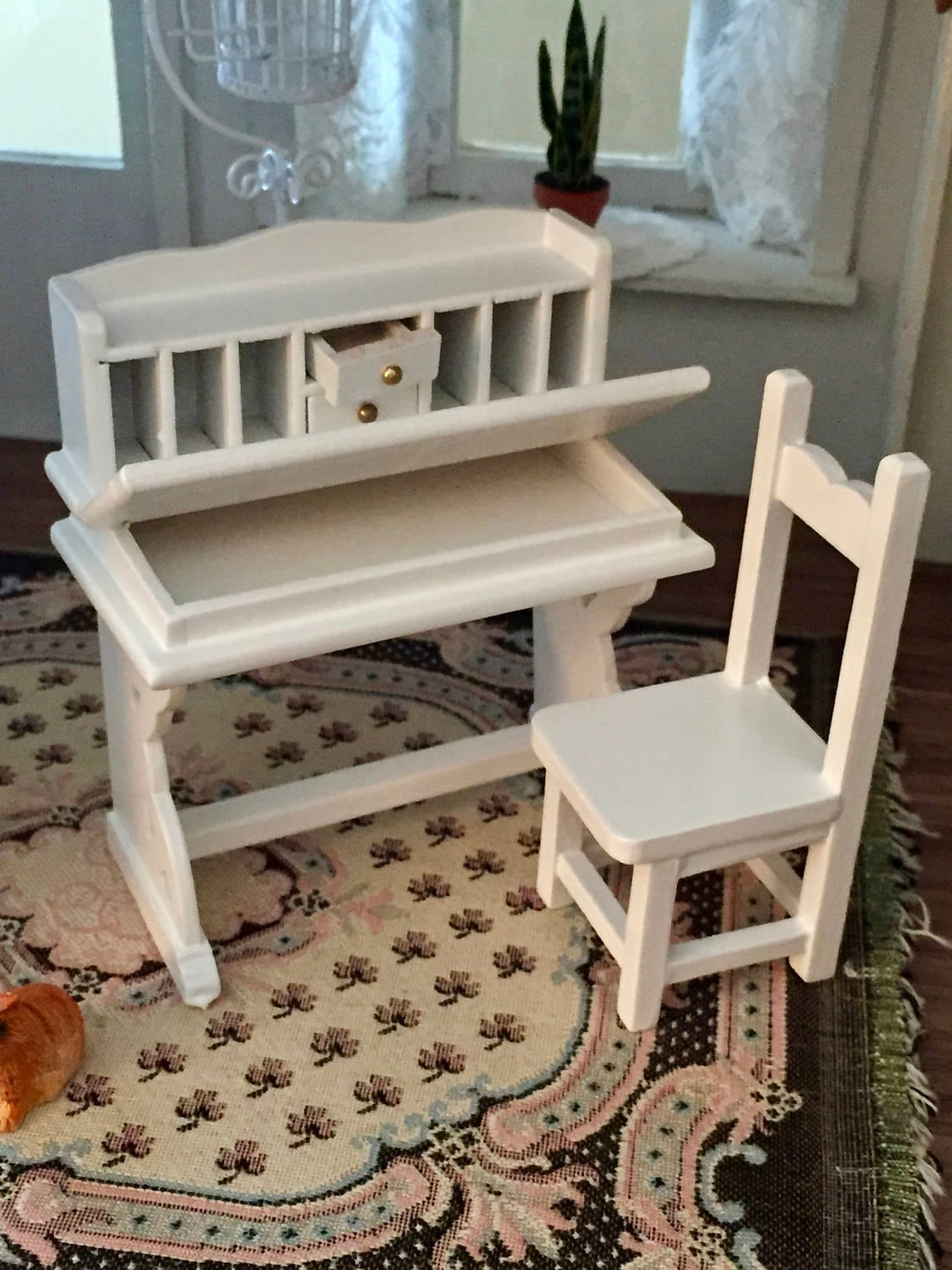 Miniature Desk And Chair White Flip Top Desk With Drawers And