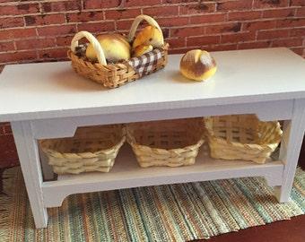 Miniature White Side Table with Baskets and Bottom Shelf, Dollhouse Miniature Furniture, 1:12 Scale, Mini White Table, Dollhouse Accessory