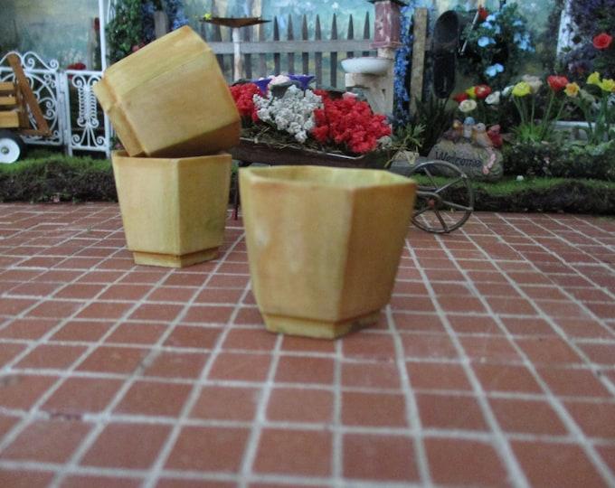 Miniature Flower Pot, Mini Hexagon Planter, Aged Stone Look Flower Pot, Style #75AG, Dollhouse Miniature, 1:12 Scale, Garden Decor