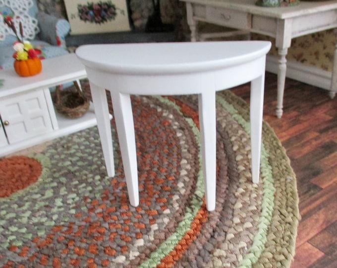 Miniature Side Sofa Table, White Wood Table, Style #11, Dollhouse Miniature Furniture, 1:12 Scale, Mini Table