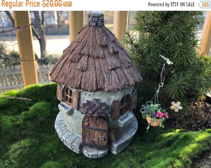 "Featured listing image: SALE Fairy Garden House, ""Nutty Nook"" With Hinged Door, Resin Garden House, Mini Stone Look House, Fairy Garden Accessory, Home & Garden Dec"