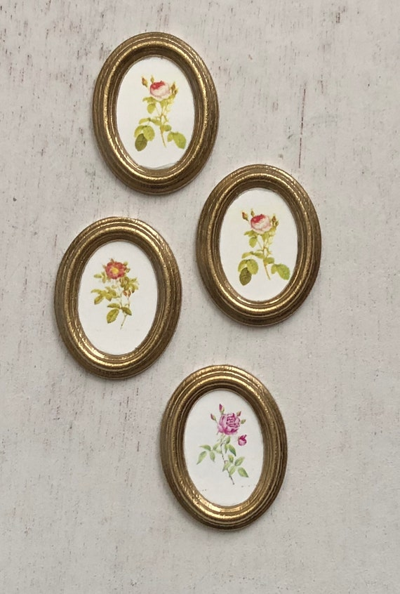 Dollhouse Miniature 1:12 Scale Set of 2 Gold Oval Framed Vintage Look Floral ...