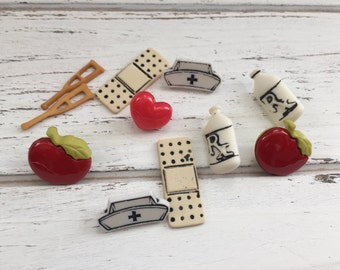 """First Aid, Doctor, Nurse Buttons Packaged Button Assortment """"Doctor Doctor"""" by Buttons Galore, Hat, Apples, Medicine, Band aids"""