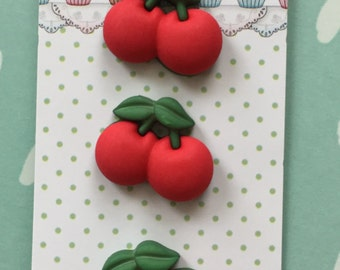 """Cherry Buttons, Sweet Delights Collection """"Cherries"""" Style SD120 by Buttons Galore, Carded Set of 3, Shank Back Buttons"""