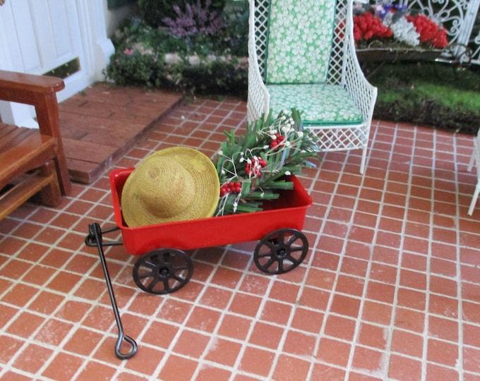 Miniature Red Wagon, Mini Wagon, Style #65, Dollhouse Miniature, 1:12 Scale, Dollhouse Accessory, Decor, Crafts, Mini Wagon