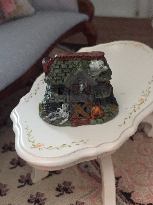 miniature halloween figurine mini haunted house dollhouse miniature 112 scale dollhouse accessory halloween decor topper