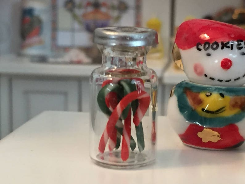 Dollhouse Miniature Candy Canes in a Glass Jar 1:12 Scale