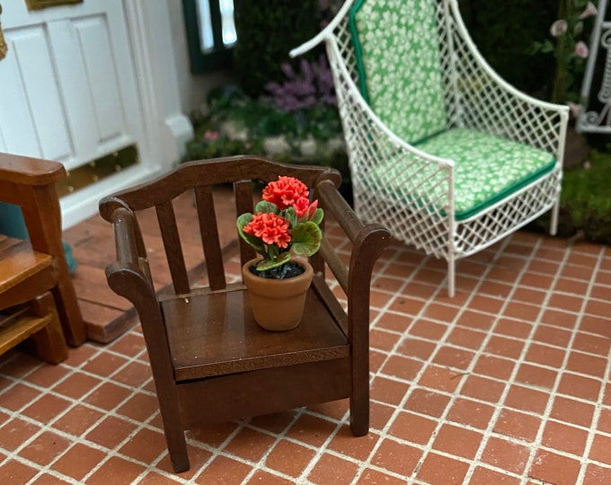 Miniature Garden Chair with Lift Up Seat, Mini Chair with Storage, Dollhouse Miniature Furniture, 1:12 Scale, Dollhouse Garden Patio