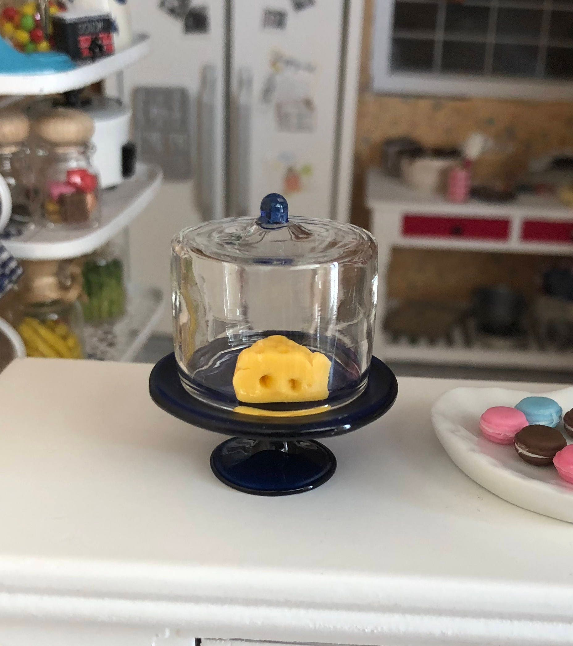 Miniature Glass Cake Stand Cobalt Blue Stand Glass Dome