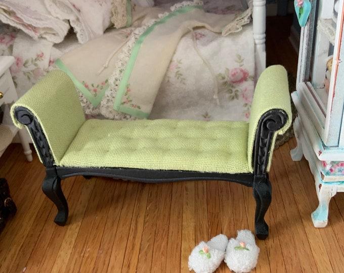 Miniature Settee, Black With Green Cushion, Mini Bench Seat, Dollhouse Miniature, 1:12 Scale, Dollhouse Furniture