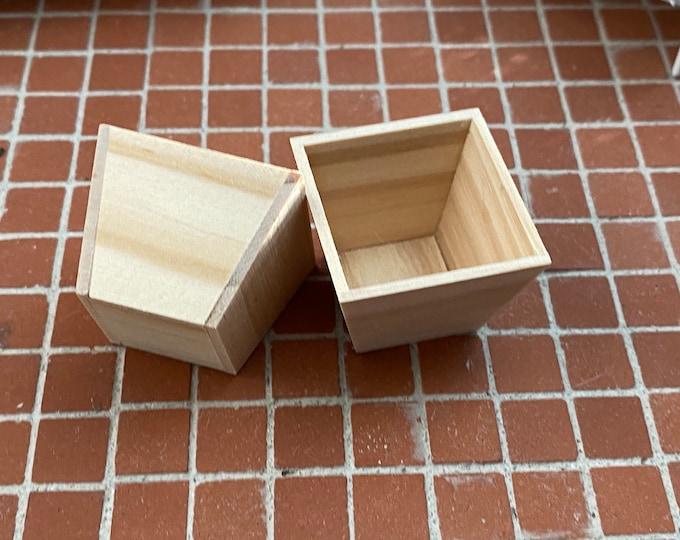 Miniature Wood Planter Boxes, 2 Piece Set, Dollhouse Miniature, 1:12 Scale, Dollhouse Decor, Accessory, Mini Garden Decor, Crafts