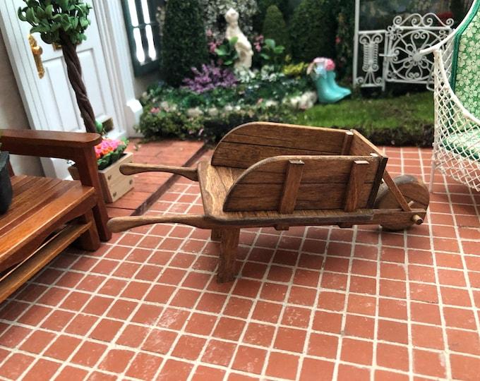 Miniature Wheelbarrow, Hand Crafted Wood Wheelbarrow, Dollhouse Miniature, 1:12 Scale, Dollhouse Decor, Crafts, Mini Wheelbarrow