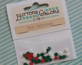 Micro Christmas Buttons, Teeny Tiny Micro Buttons by Buttons Galore, Packaged Assortment, #1801, 2 Hole Buttons, Sewing, Crafting