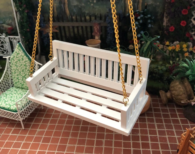 Miniature Swing, White Wood Swing with Chain, Dollhouse Miniature, 1:12 Scale, Dollhouse Swing, Dollhouse Decor, Accessory