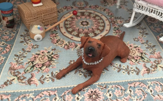 Dollhouse Miniature Laying Down Dog