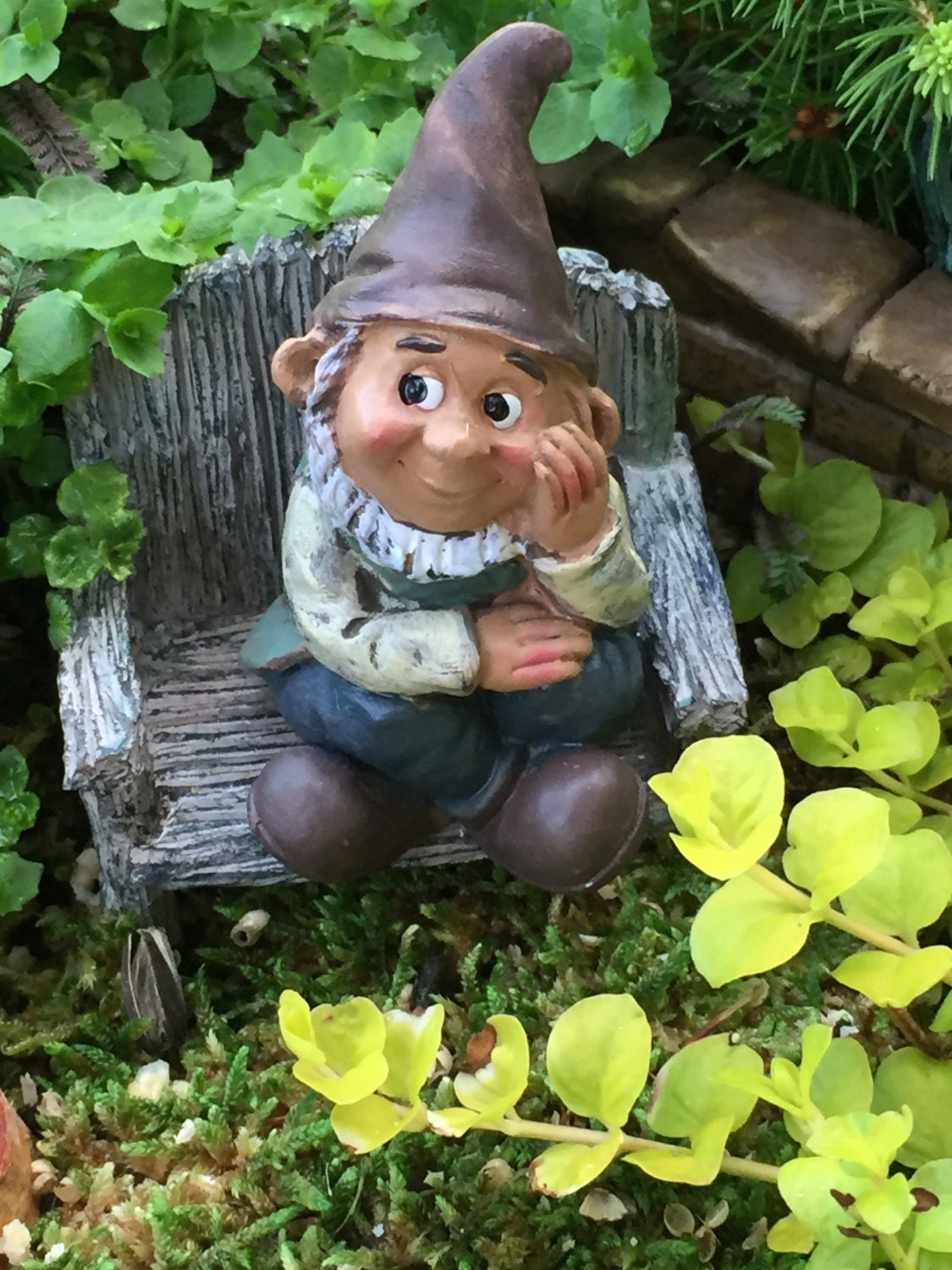 Mini Sitting Garden Gnome Figurine, Fairy Gnome Garden Accessory, Miniature  Garden, Garden Decor, Topper, Shelf Sitter