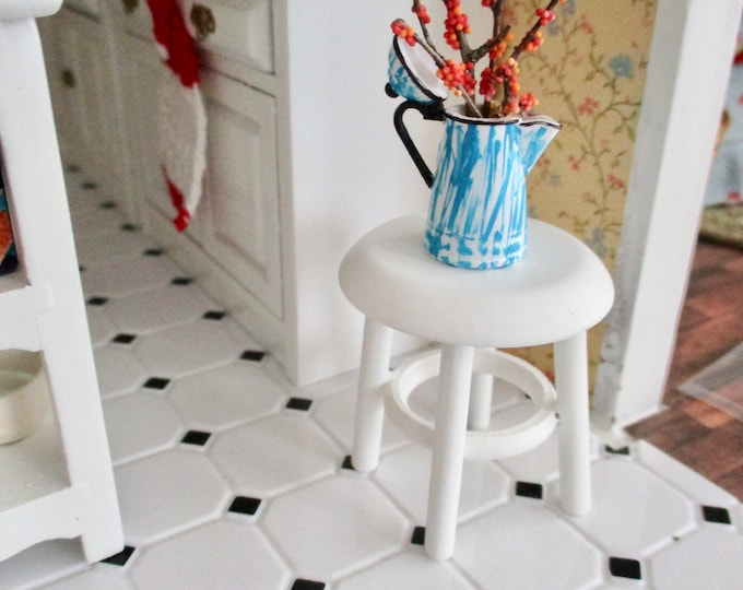 Miniature Stool, Mini White Wood Distressed Stool, Style #23, Dollhouse Miniature Furniture, 1:12 Scale, Dollhouse Stool, Mini Seat