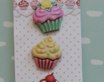 Cupcake Buttons, Sweet Delights Collection by Buttons Galore, Carded 3 Buttons, Bright Colors
