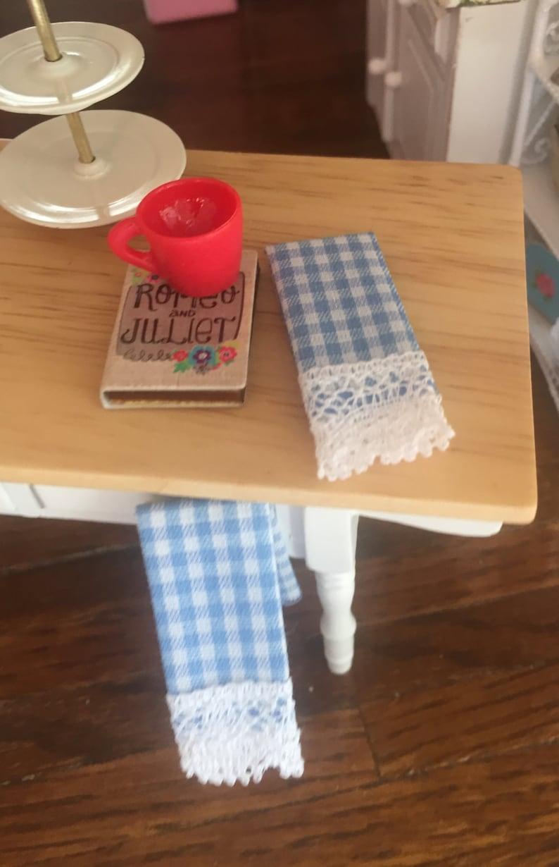 Miniature Dollhouse 8 Pc Dish Towel Set Brown Gingham