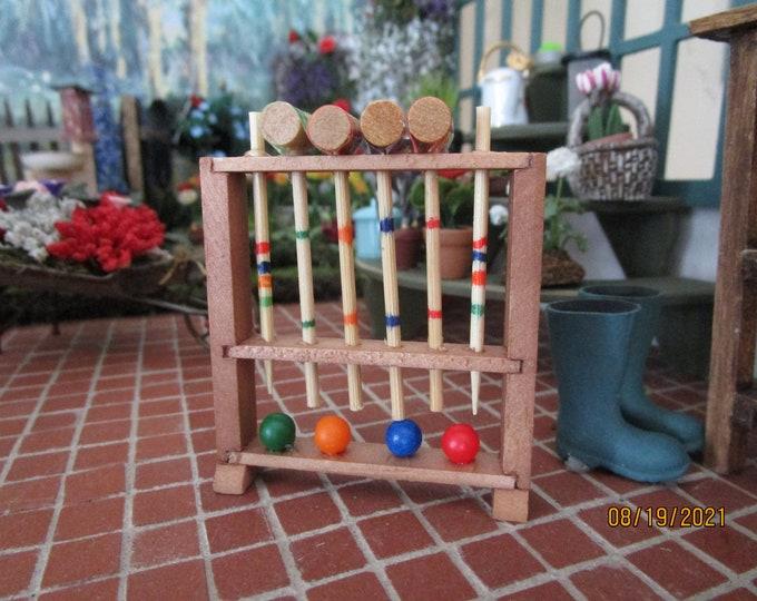 Miniature Wood Croquet, Mini Croquet Set In Stand, Style #71, Dollhouse Miniature, 1:12 Scale, Dollhouse Decor, Mini Game