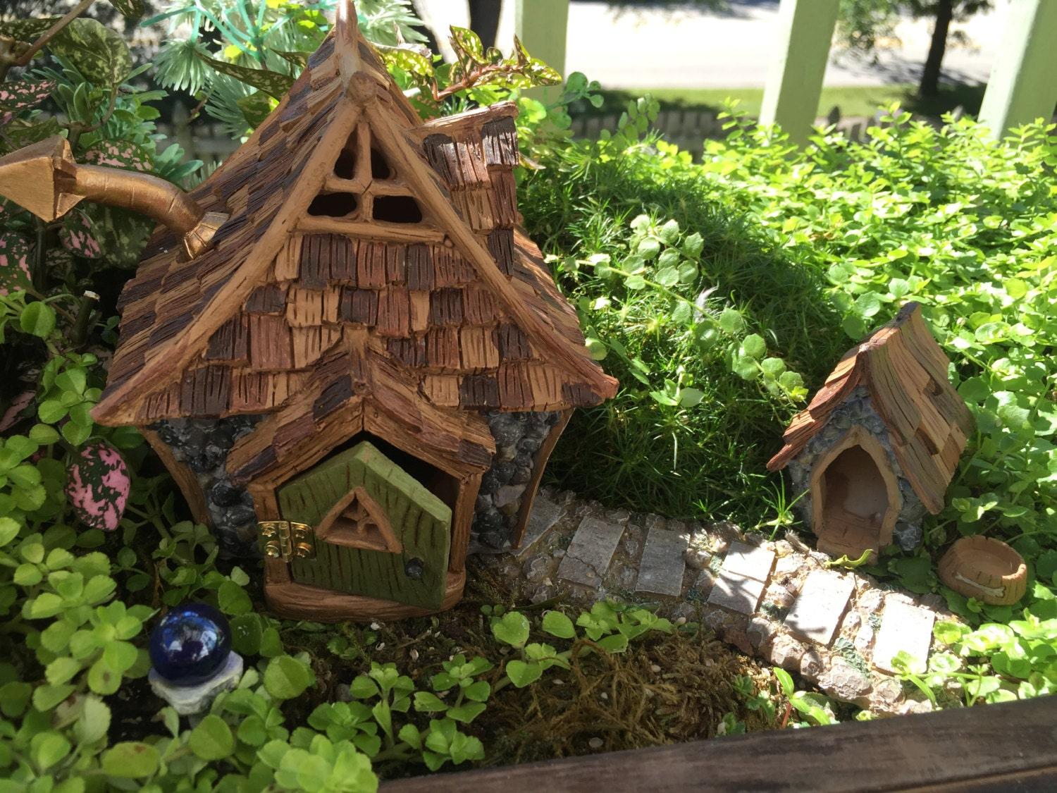SALE Fairy Garden Dog House and Bowl, Shingletown, Fairy Garden ...