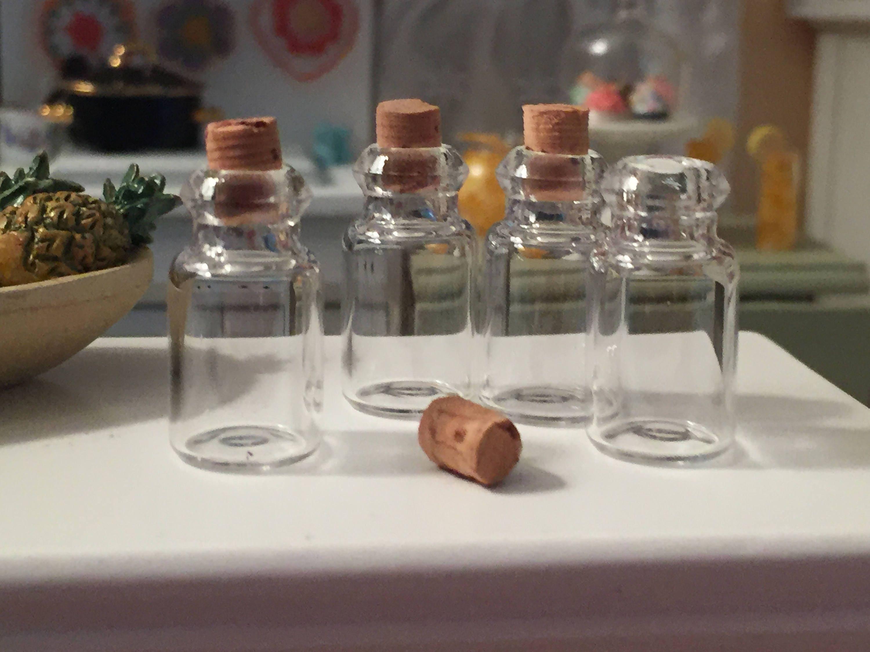 miniature glass jars with cork tops set of 4 dollhouse miniature