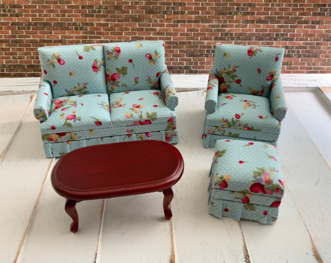 Miniature Living Room Set, 4 Pieces, Loveseat, Coffee Table, Chair & Ottoman, Dollhouse Furniture, 1:12 Scale