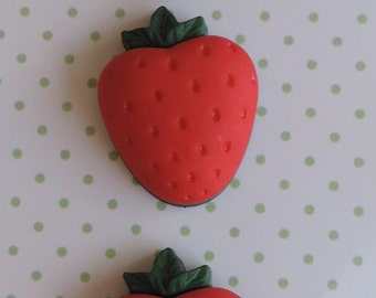 Strawberry Buttons Carded Buttons by Buttons Galore Sweet Delights Collection Set of 3
