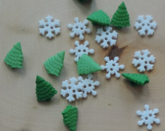 """Snowflake and Tree Buttons, Novelty Button Assortment Pack,  """"Tiny Blizzard"""" by Buttons Galore and More, Sewing, Crafting Buttons"""