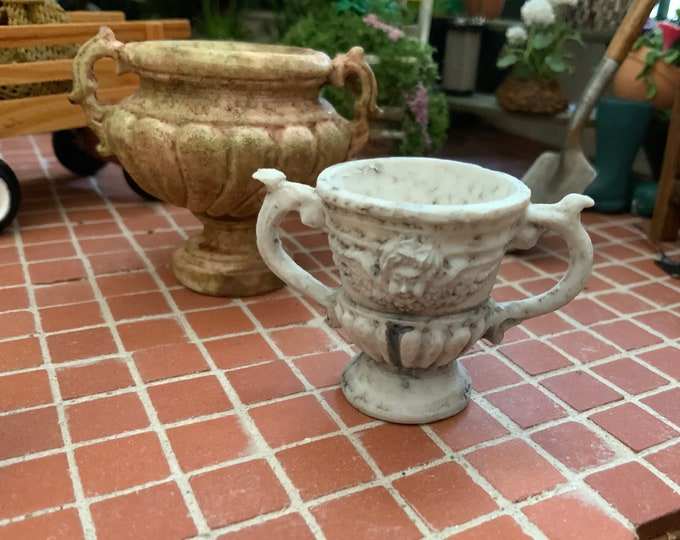 Miniature Stone Look Garden Urn, 2 Handle Urn Planter Flower Pot, Style #49G, Dollhouse Miniature, 1:12 Scale, Dollhouse Garden Decor