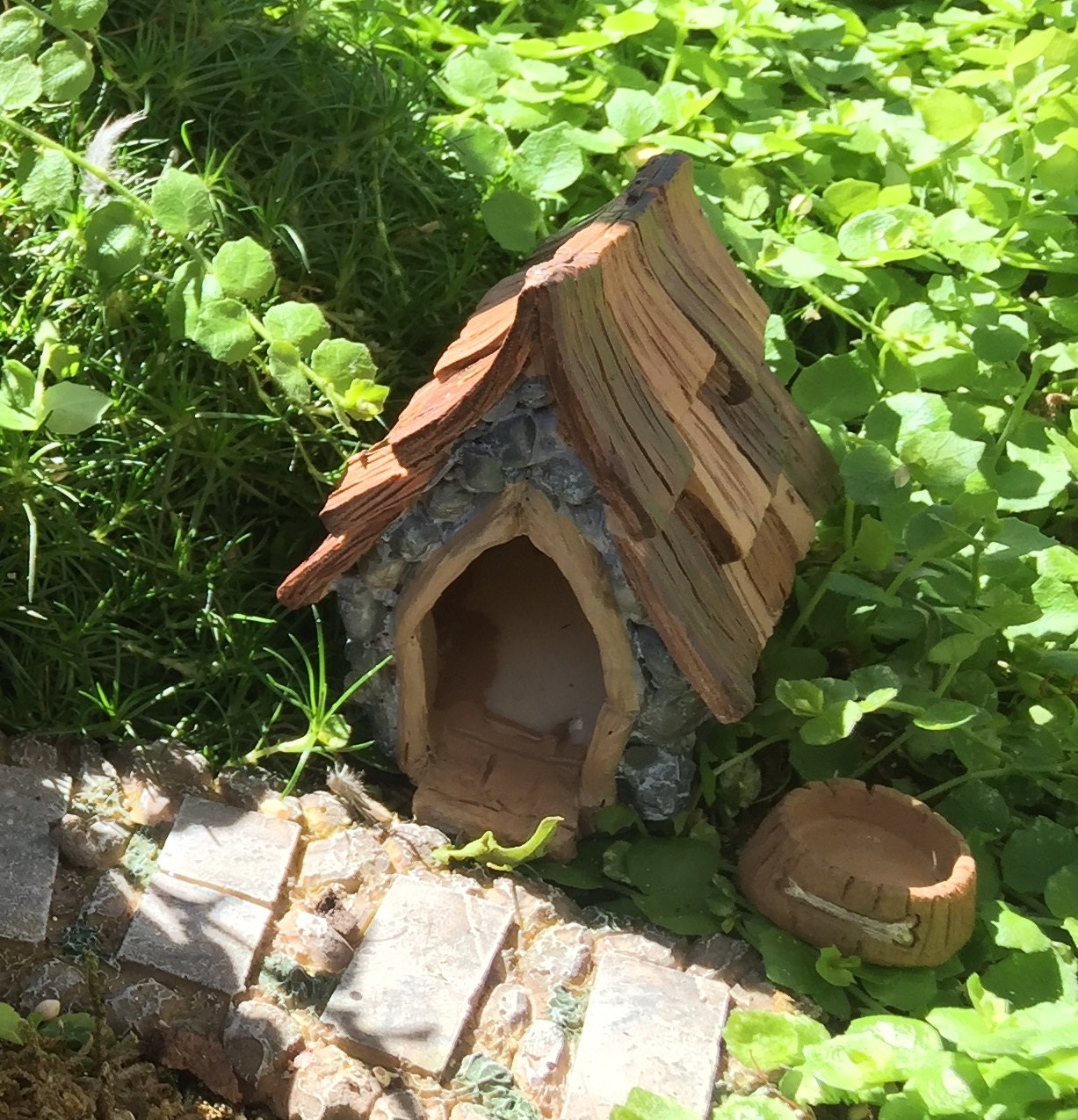 Fairy Garden Dog House and Bowl, Shingletown, Fairy Garden Accessory ...