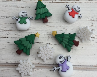 """Snowman, Tree & Snowflake Buttons, Packaged Novelty Buttons by Buttons Galore, """"I Love Winter"""" Style 4788, Holiday Collection, Shank Back"""