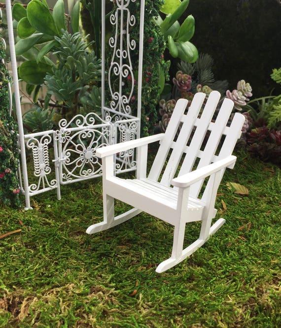 Miniature Adirondack Rocking Chair White Wood Rocker Etsy