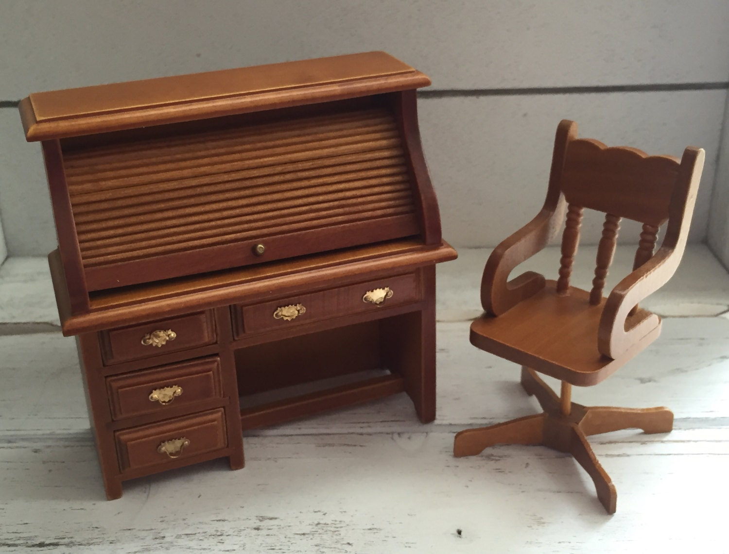 Surprising Miniature Roll Top Desk And Swivel Chair Set Wood Dollhouse Download Free Architecture Designs Scobabritishbridgeorg