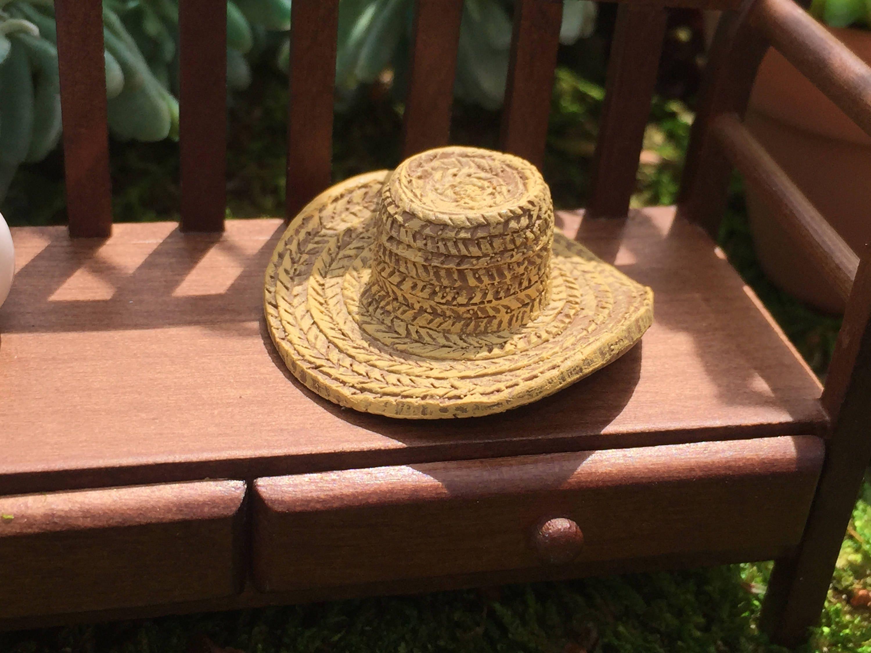 Miniature Hat, Garden Straw Look Hat, Dollhouse Miniature, Miniature ...