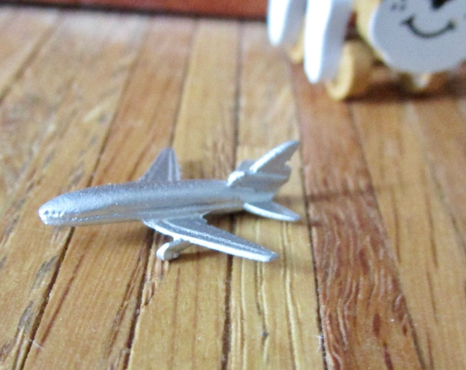 Miniature Silver Toy Airplane, Mini Jet Plane, Style #17, Dollhouse Miniature, 1:12 Scale, Dollhouse Toy Plane, Decor, Accessory