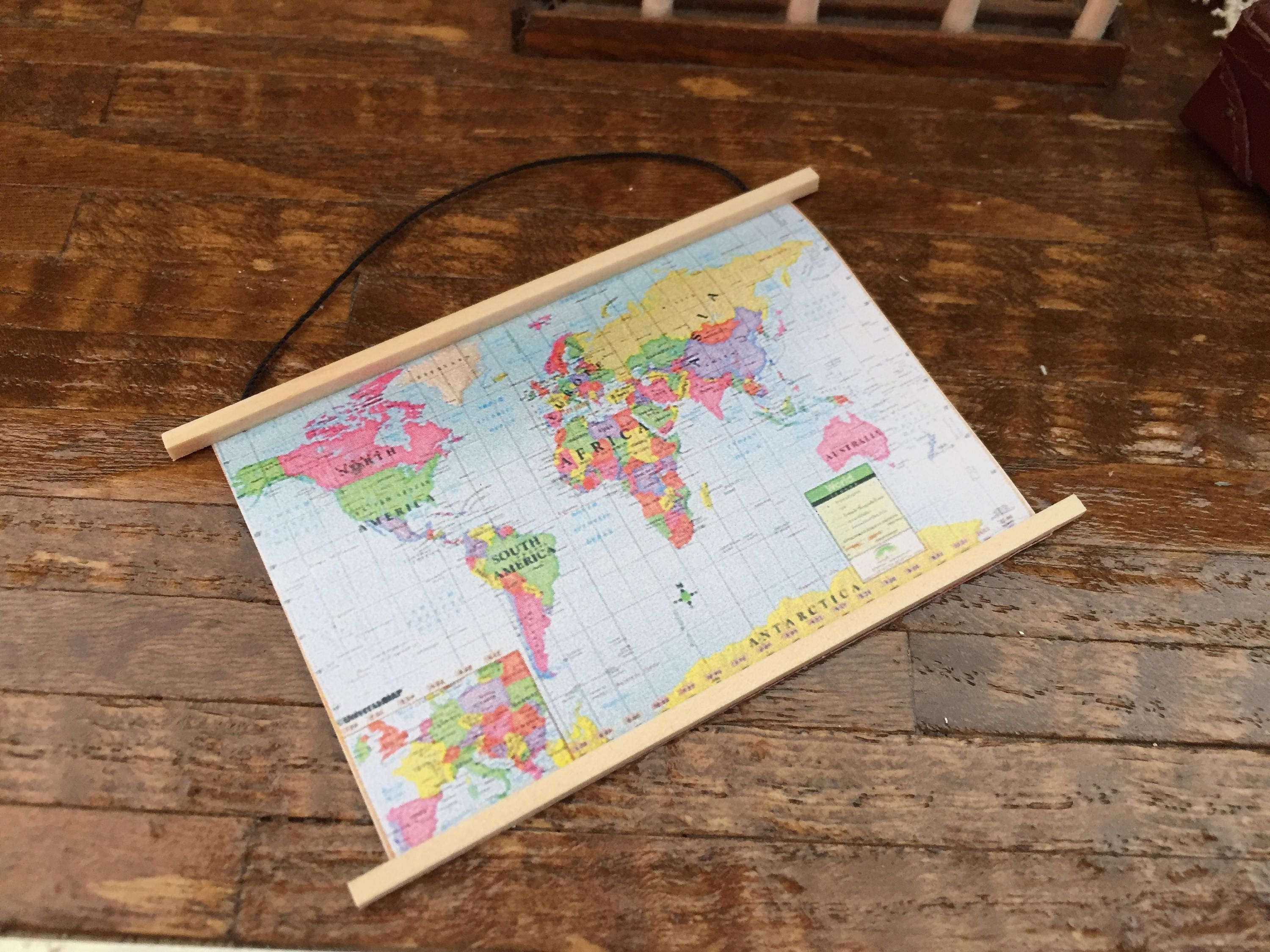 Miniature map wall banner map dollhouse miniature 112 scale miniature map wall banner map dollhouse miniature 112 scale dollhouse decor accessory mini world map gumiabroncs Image collections