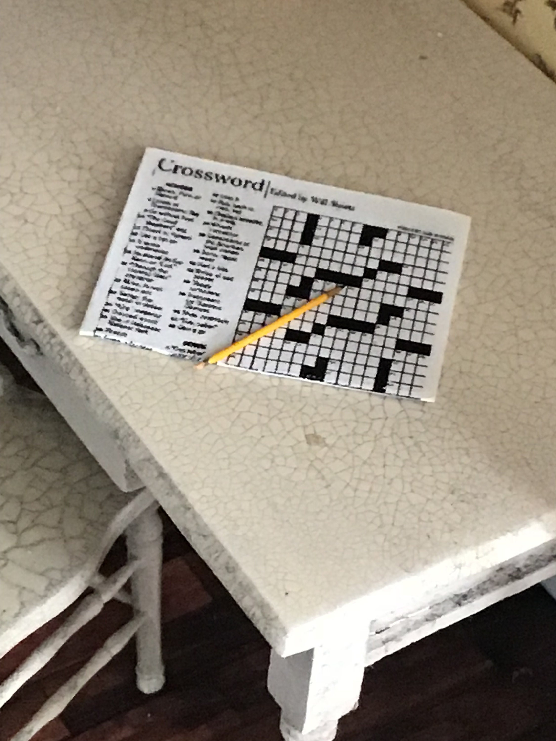 Dollhouse Miniature Newspaper with Crossword Puzzle and Pencil