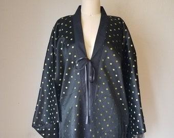 Boho Fringe Kimono Robe - Festival gypsy duster - Dance beach cover up - Black & Green polka dot