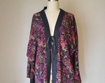Boho Fringe Kimono Robe - Festival gypsy duster - Dance beach cover up - Purple & Black floral