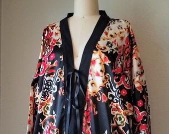 Boho Fringe Kimono Robe - Festival gypsy duster - Dance beach cover up -Damask