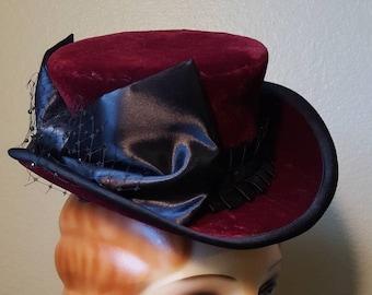 Burgundy velvet Top Hat mini tophat steampunk burlesque