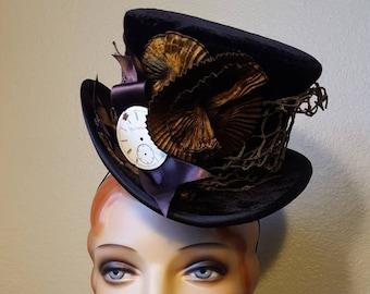 Black velvet Mad Hatter Tophat mini top hat steampunk costume