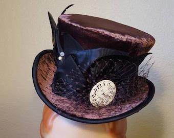 Brown velvet Mad Hatter Top Hat mini steampunk tophat Halloween